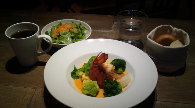 アメリカ料理:オマール海老と甘鯛のナージュ季節の野菜と共に・BLUE BOOKS CAFE・静岡市