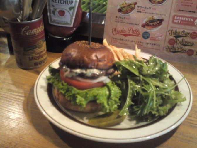 アメリカ料理:Tequila's Dinerの仔羊とブルーチーズのハンバーガー・静岡市!